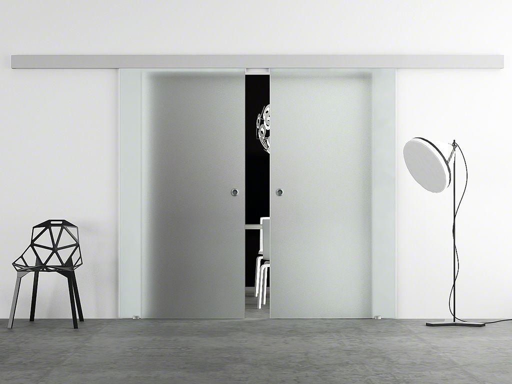 hadeco doppel glasschiebet r satiniert. Black Bedroom Furniture Sets. Home Design Ideas